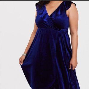 Torrid Blue Velvet Dress Size 2